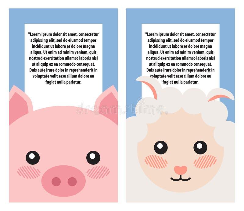 Cabezas de las ovejas y del cerdo en las cubiertas de libro, diseño de los carteles stock de ilustración
