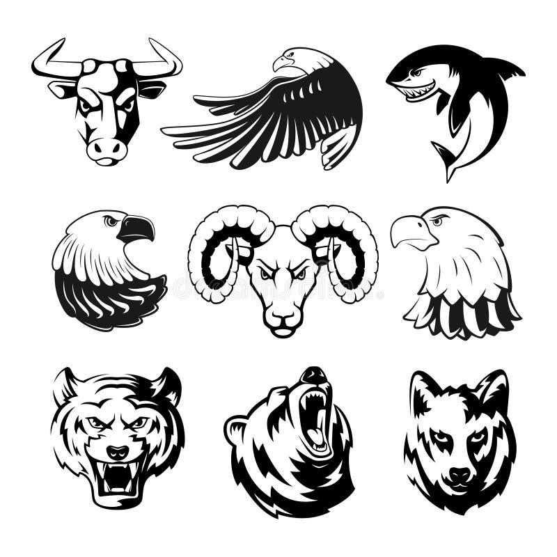 Cabezas de los animales para los símbolos del logotipo o del deporte Grisáceo, oso y águila Ejemplos monocromáticos de las mascot ilustración del vector
