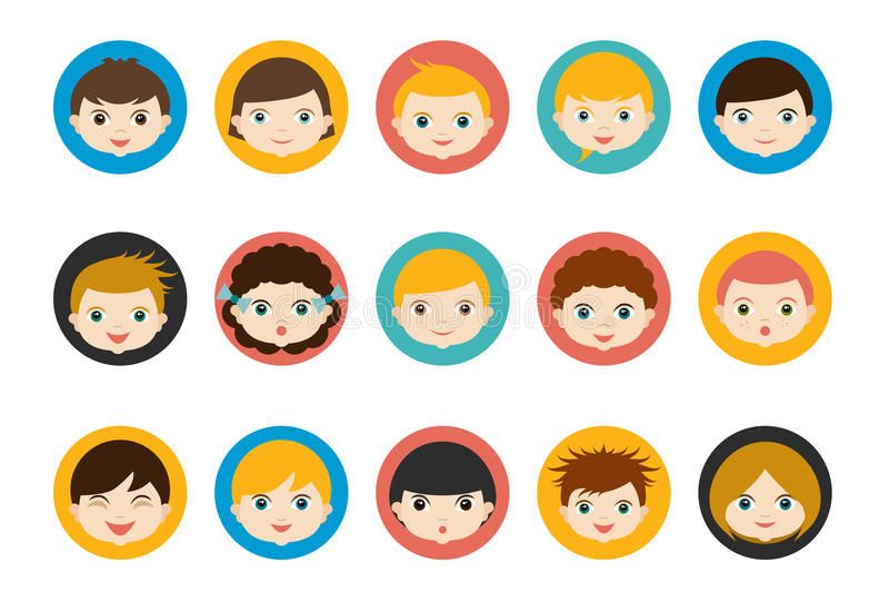 Cabezas de los niños, avatar Vector plano del color stock de ilustración