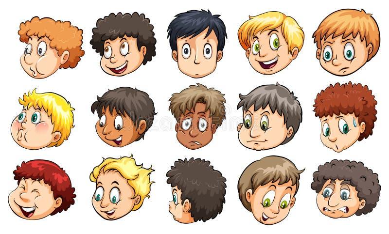 Cabezas de muchachos jovenes libre illustration