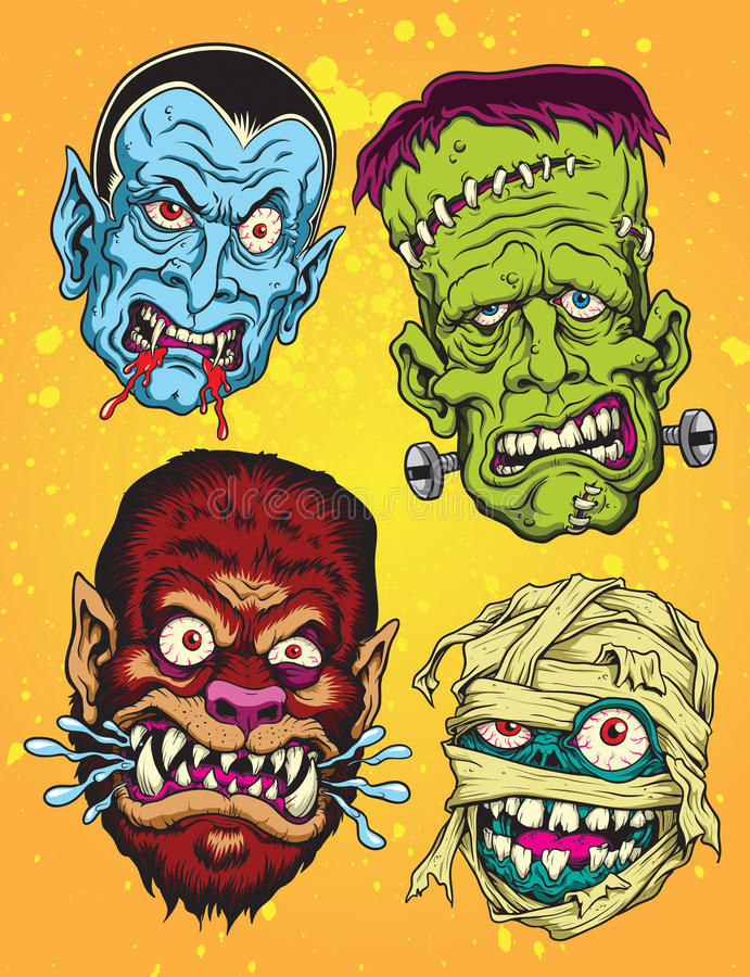 Cabezas del monstruo de Halloween libre illustration