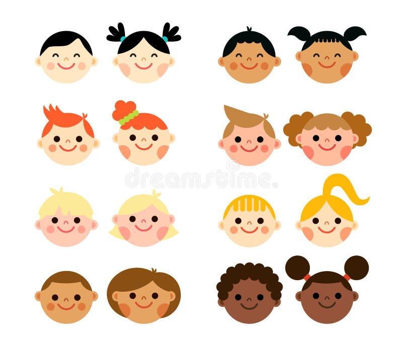 Cabezas nacionales multiculturales de los niños en estilo plano libre illustration
