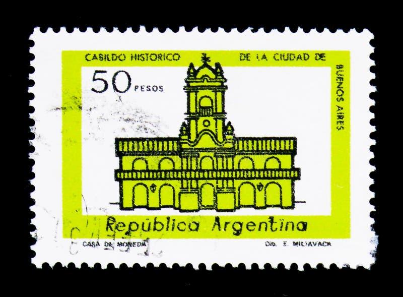 Cabildo de Buenos Aires, Building definitives serie, circa 1979. MOSCOW, RUSSIA - NOVEMBER 26, 2017: A stamp printed in Argentina shows Cabildo de Buenos Aires stock photo