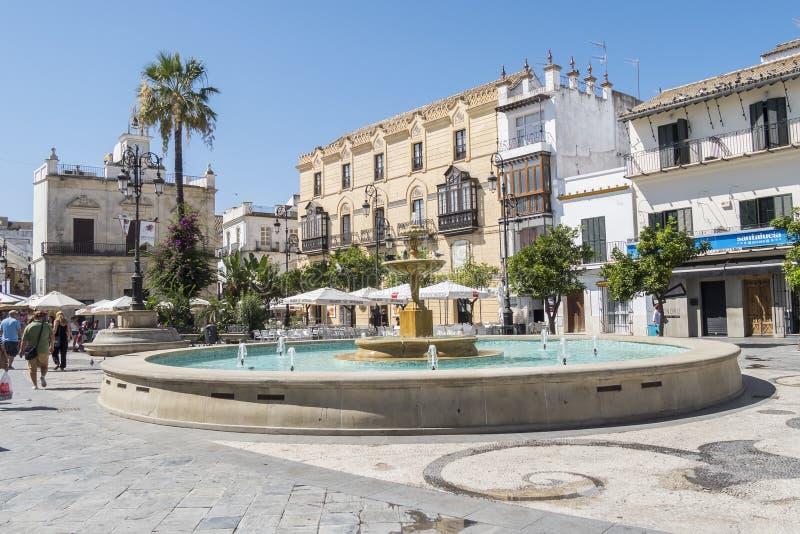 Cabildo kwadrat Sanlucar De Barrameda, Cadiz, Hiszpania zdjęcia stock