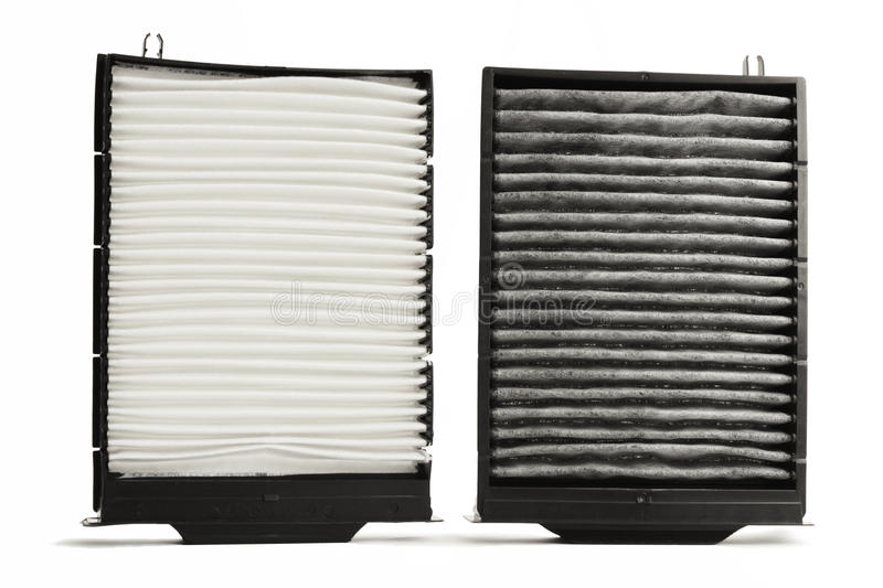 Cabin air filter. One usual cabin air filter and one activated carbon car cabin air filter befitting same car stock image