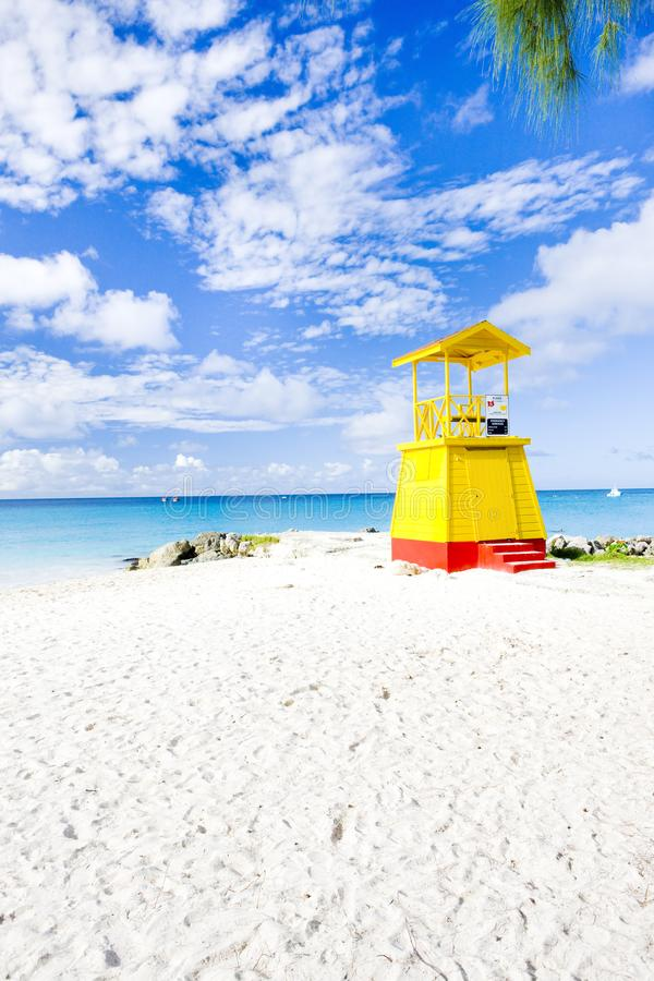 Cabin on the beach, Enterprise Beach, Barbados, Caribbean. Outdoor, outdoors, outside, exterior, exteriors, america, central, greater, antilles, lesser, west royalty free stock image