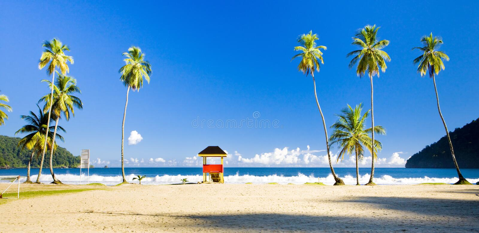 Cabin on the beach, Maracas Bay, Trinidad. Outdoor, outdoors, outside, exterior, exteriors, america, central, greater, antilles, lesser, west, indies stock image