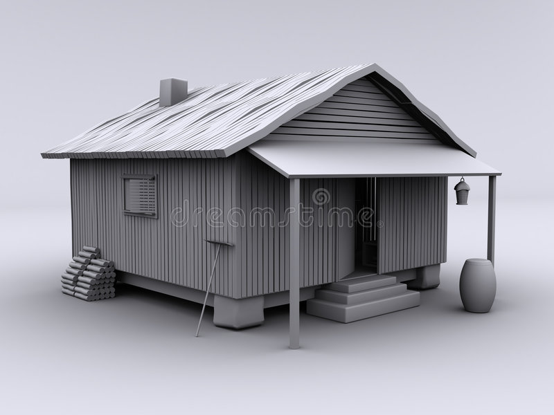 Cabin cozy III. 3d rendered textureless cabin on white background. This is a cabin from one of my other images, isolated against a white background