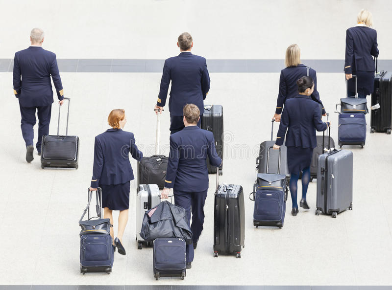 Cabin crew at an airport royalty free stock images