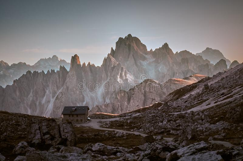 Cabin in the Dolomiti mountains. Cabin near Tre Cime peaks in Dolomiti mountains,Italy stock image
