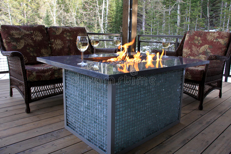 Cabin Fire Pit stock photo