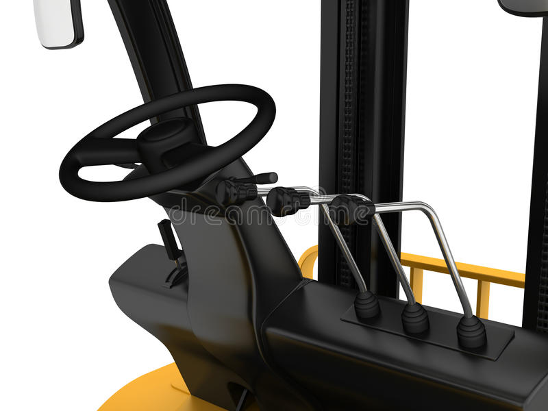 Cabin Forklift Truck With Levers And Steering Stock Image - Image ...