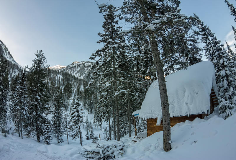 Cabin house chalets in winter forest with snow.  stock photo