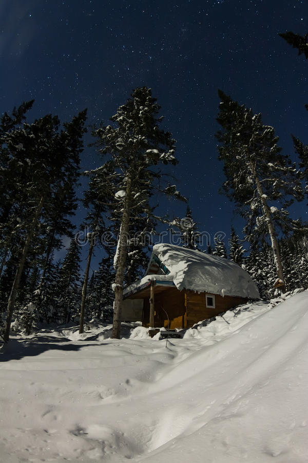 Cabin house chalets in winter forest with snow in light moon and. Starry sky stock image