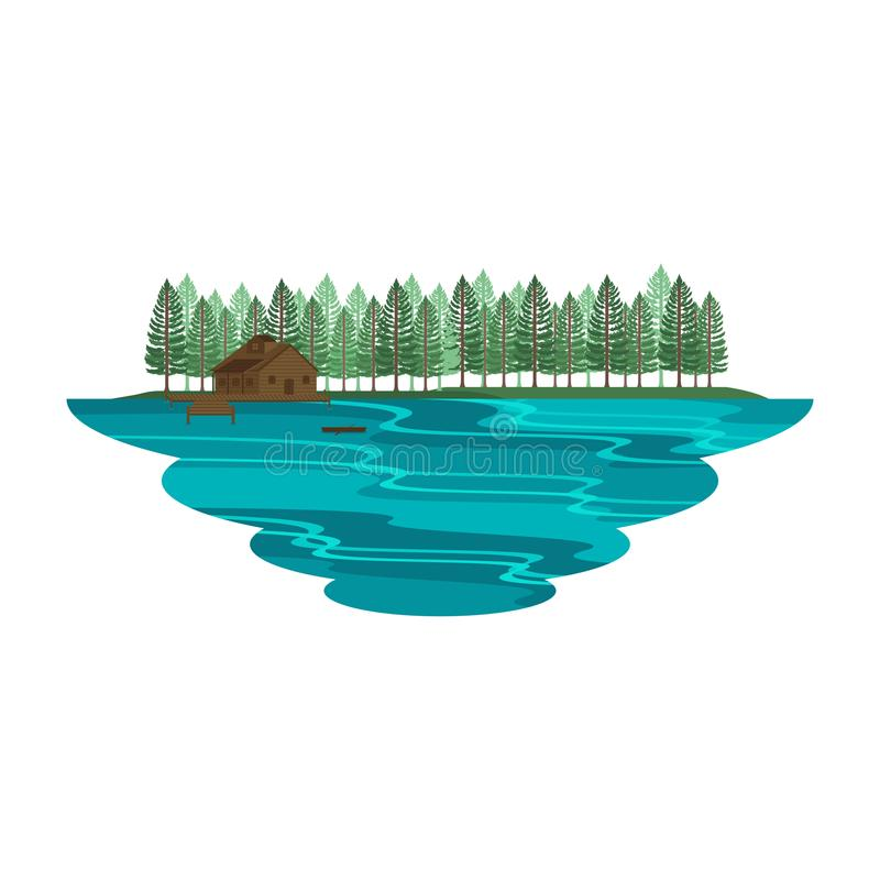 Cabin Hut Cottage on Lake and Camping on Mountain Summer and Spring Landscape. Vector stock illustration