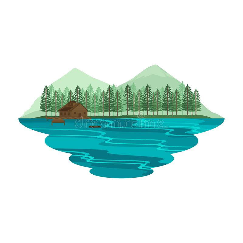 Cabin Hut Cottage on Lake and Camping Mountain View Summer and Spring Landscape. Vector royalty free illustration