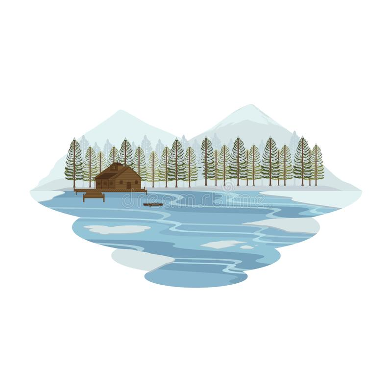 Cabin Hut Cottage on Lake and Camping Snow Mountain View Winter Landscape. Vector royalty free illustration