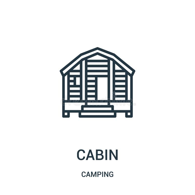 cabin icon vector from camping collection. Thin line cabin outline icon vector illustration. Linear symbol royalty free illustration