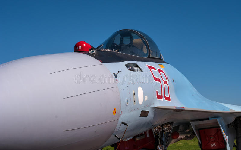 The cabin of a jet fighter pilot of Sukhoi SU35 - under the NATO codification: Flanker-E. Together, the characteristics of the fighter are closely approximated stock photography