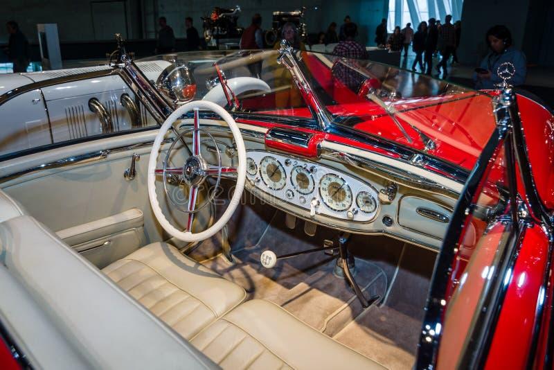 Cabin of luxury car Mercedes-Benz 500 K Special-Roadster (W29), 1937. STUTTGART, GERMANY- MARCH 19, 2016: Cabin of luxury car Mercedes-Benz 500 K Special stock photos