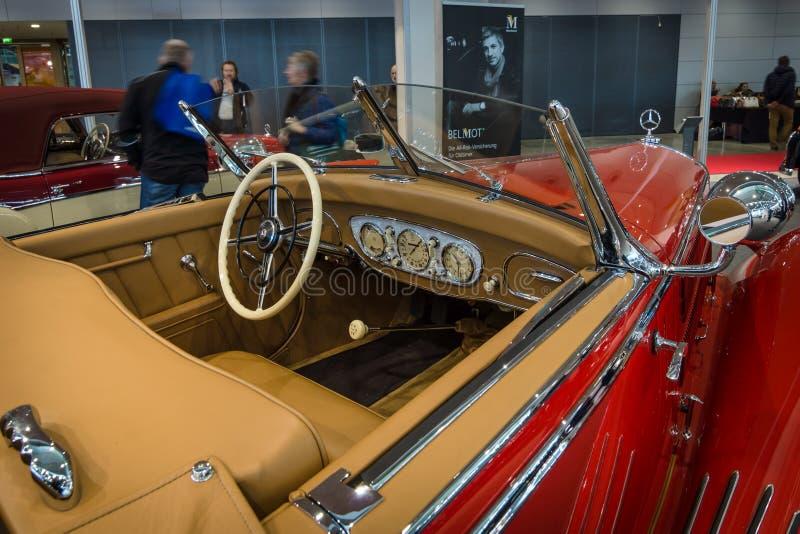 Cabin of a luxury car Mercedes-Benz Typ 290 Roadster (W18), 1935. STUTTGART, GERMANY- MARCH 17, 2016: Cabin of a luxury car Mercedes-Benz Typ 290 Roadster (W18 stock photo