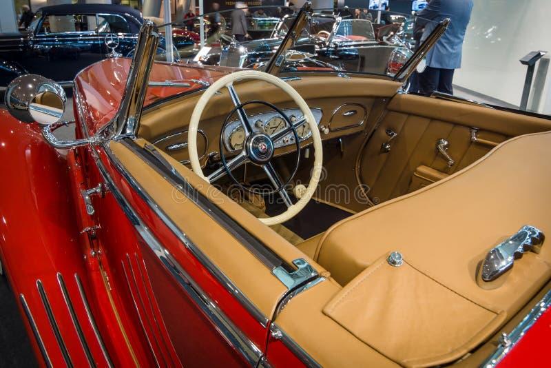 Cabin of a luxury car Mercedes-Benz Typ 290 Roadster (W18),. STUTTGART, GERMANY- MARCH 17, 2016: Cabin of a luxury car Mercedes-Benz Typ 290 Roadster (W18), 1935 stock photography