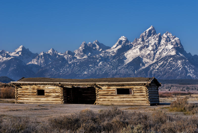 Cabin from move Shane with the Tetons stock images