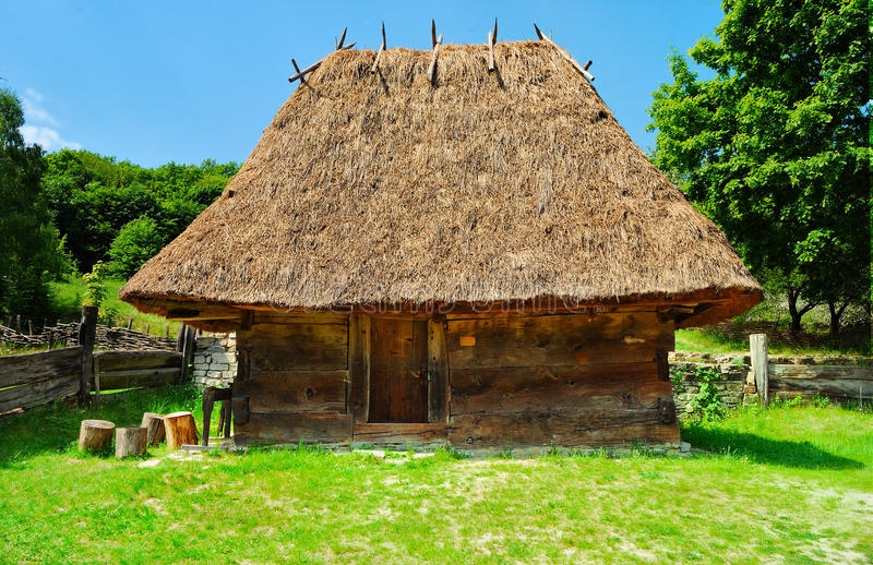 Cabin of poor peasant stock photo