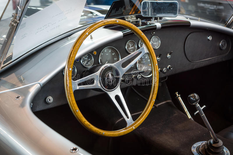 Cabin of roadster Shelby AC Cobra, 1966. STUTTGART, GERMANY - MARCH 18, 2016: Cabin of roadster Shelby AC Cobra, 1966. Europe's greatest classic car exhibition royalty free stock photography