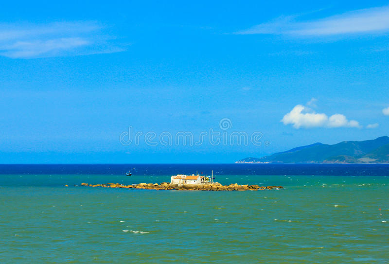 Cabin in the sea royalty free stock photo