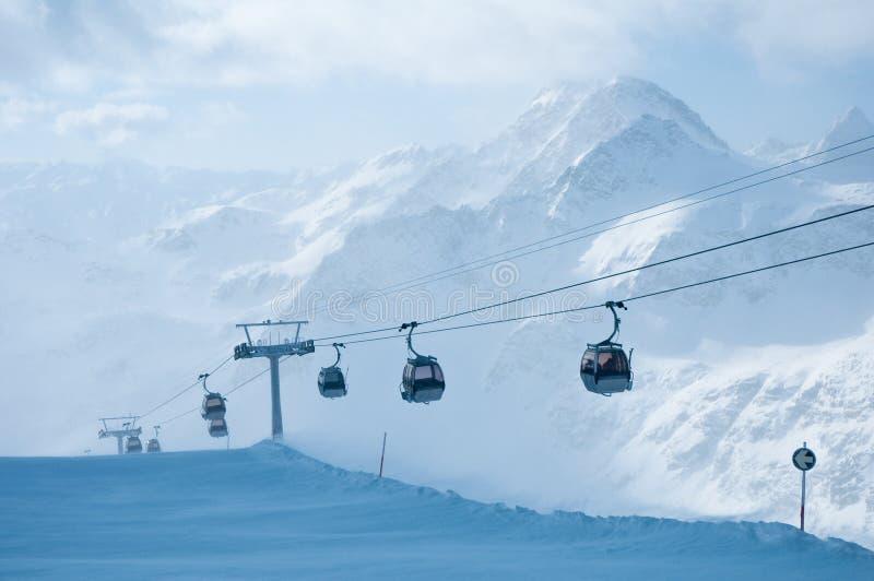 Cabin ski lift. In Alps stock photography