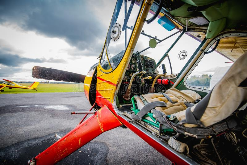 The cabin of small prop plane. Airplane ready for take off stock image