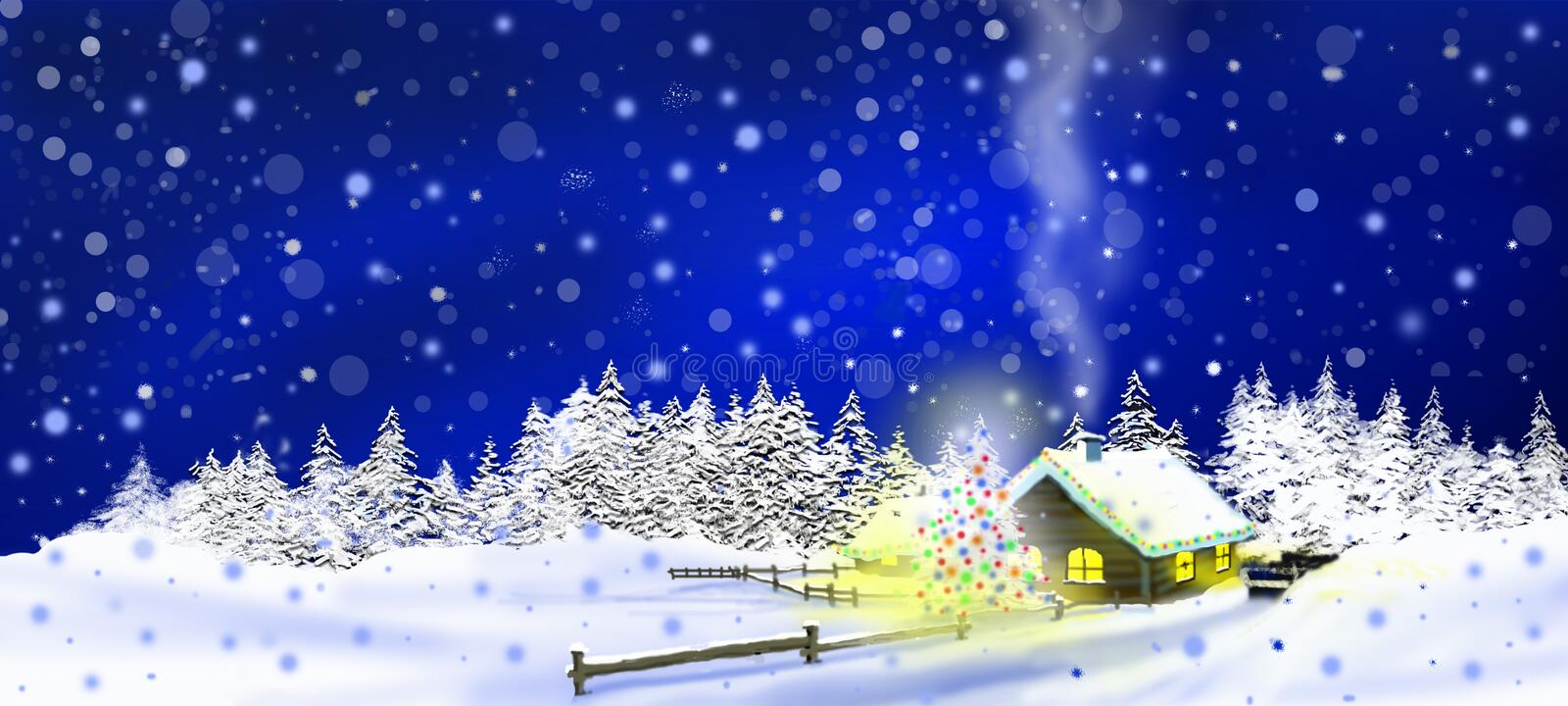 Cabin in the snow royalty free illustration