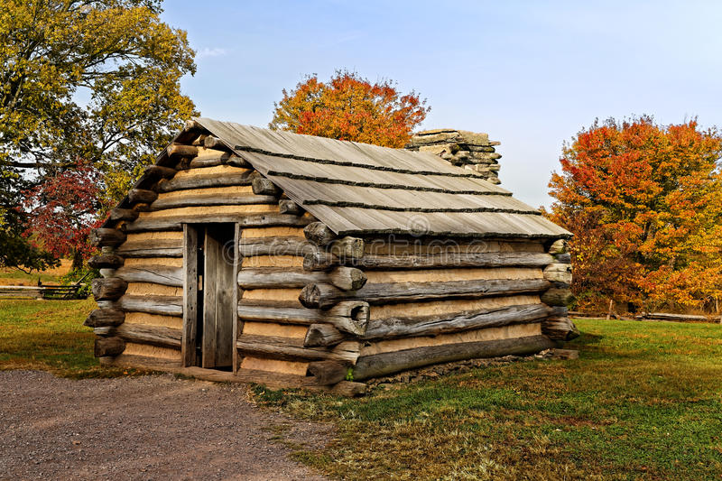 Cabin at Valley Forge. Reproduction of cabins used by Revolutionary War soldiers during the winter of 1777-78 under the command of George Washington. Located in royalty free stock photography
