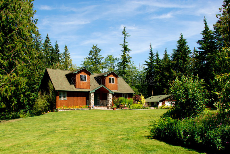 Cabin in the woods stock image