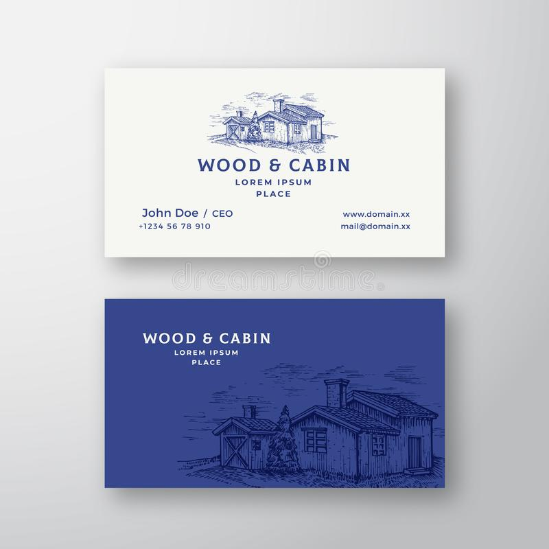 Cabin in the Woods Abstract Vintage Vector Logo and Business Card Template. Elegant Wooden Buildings Landscape Drawing stock illustration