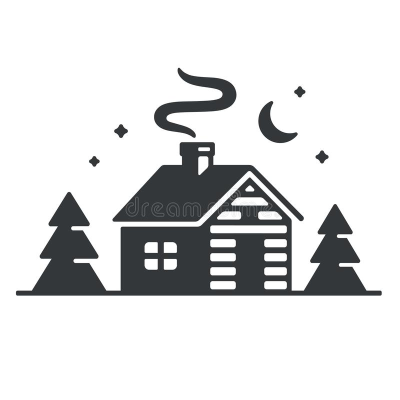 Cabin in woods icon. Log cabin in woods icon or logo. Simple wooden cottage at night, vector illustration royalty free illustration