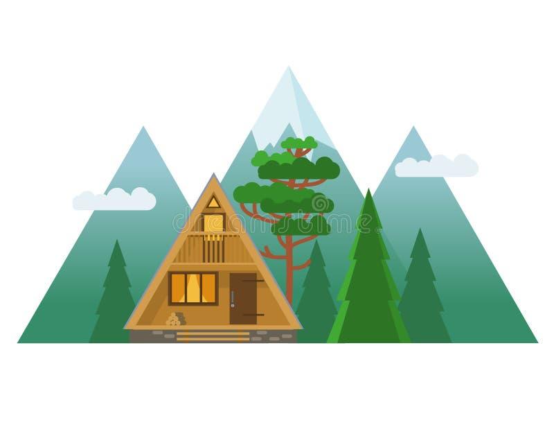 Cabina accogliente nelle montagne Illustrazione disegnata a mano di vettore illustrazione vettoriale