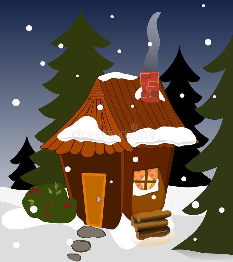 Cabina acogedora del invierno ilustración del vector