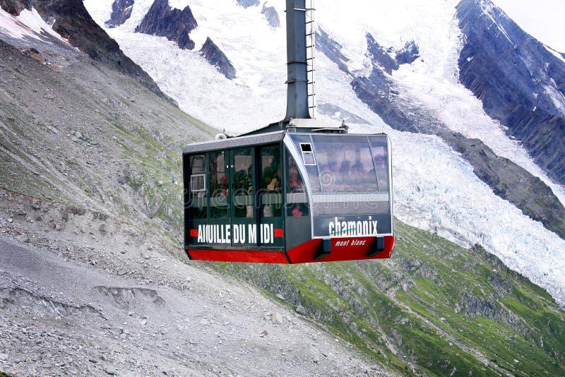 Cabina Aiguille du Midi del cavo fotografia stock
