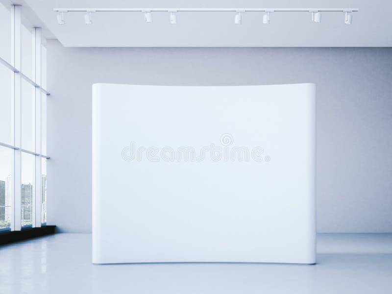 Cabina in bianco bianca della fiera commerciale nell'interno dell'ufficio rappresentazione 3d royalty illustrazione gratis