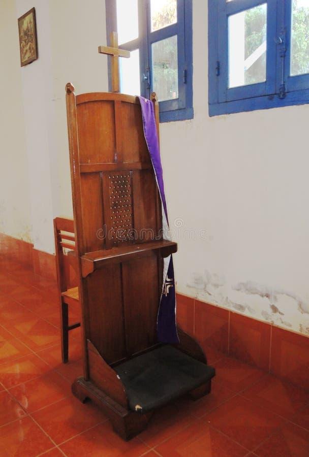 Cabina confessionale alla chiesa della st Teresa Catholic in Savannaketh, Laos fotografie stock libere da diritti