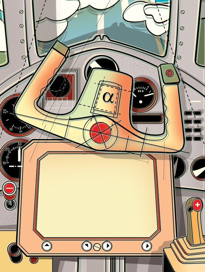 Cabina de dirección y el timón del avión Visión desde la carlinga del piloto Ejemplo de Digitaces libre illustration