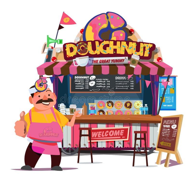 Cabina de la comida del buñuelo Concepto del carro de la comida de la calle con el charact mercantil stock de ilustración