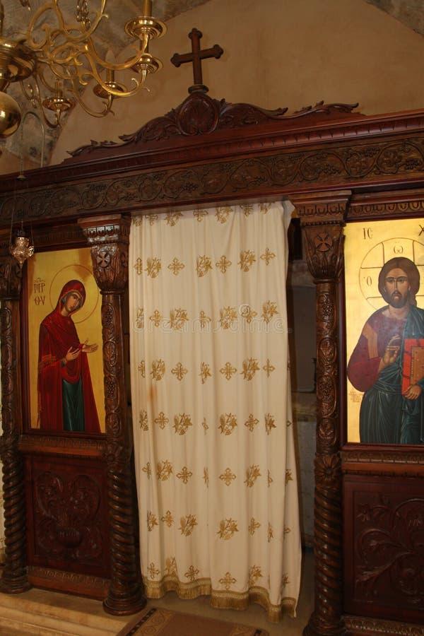 Cabina de la confesión, Arkadi Monastery, Creta imagen de archivo libre de regalías