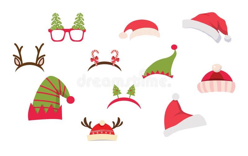 Cabina de la foto de la Navidad y sistema scrapbooking del vector Sistema retro del partido de la Navidad Ilustración del vector ilustración del vector