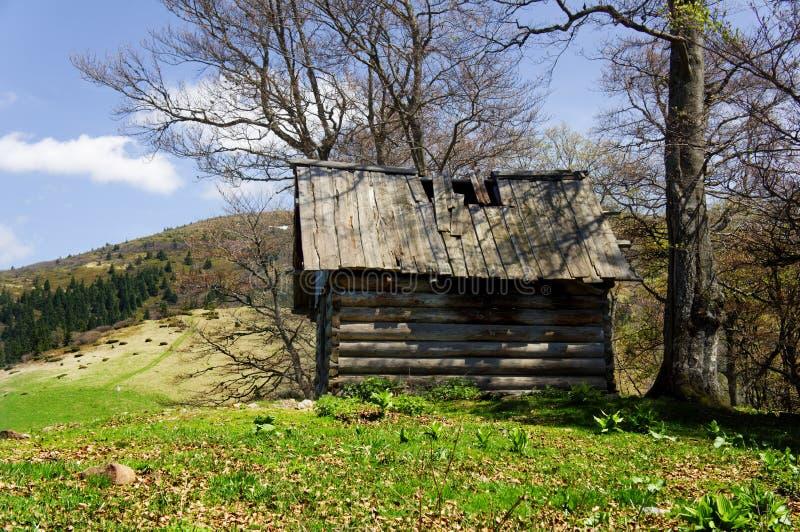 Cabina de madera vieja de la choza en las montañas de la montaña en el paisaje rural de la caída fotos de archivo libres de regalías