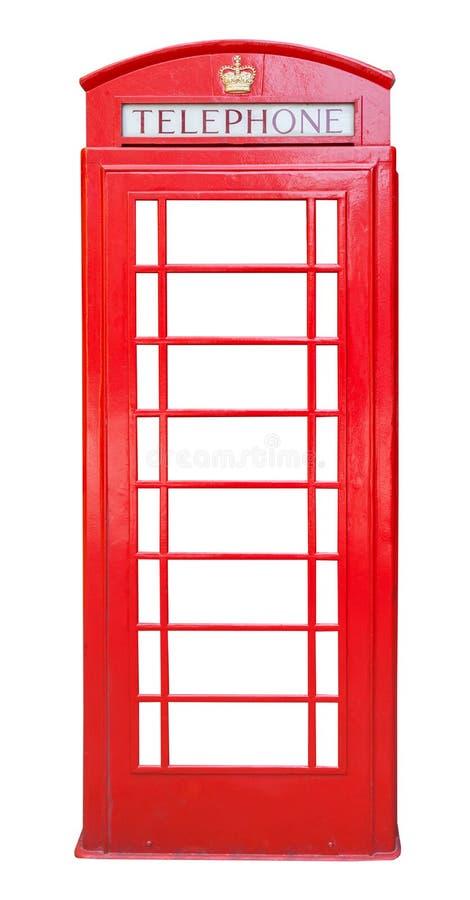 Cabina de teléfono roja británica aislada en blanco fotografía de archivo