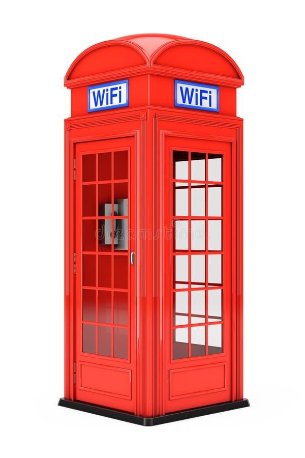 Cabina de teléfono roja británica clásica con la muestra de WiFi representación 3d ilustración del vector