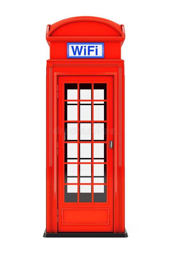 Cabina de teléfono roja británica clásica con la muestra de WiFi representación 3d libre illustration